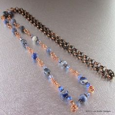 Long Wire Wrapped Blue Sodalite Crystal Gemstone Necklace LBD1082