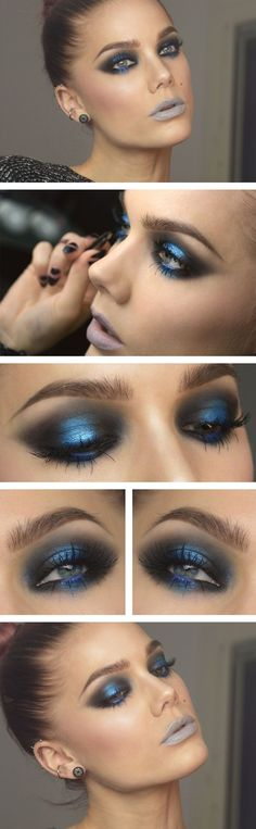 smoky metallic blue eye make up (by Linda Hallberg)! Bad Makeup, Blue Eye Makeup, Love Makeup, Makeup Inspo, Makeup Art, Makeup Inspiration, Makeup Tips, Makeup Looks, Makeup Ideas