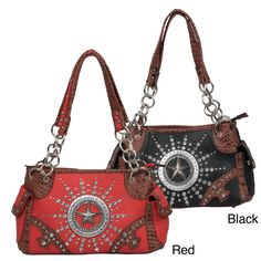 Journee Collection Women's Rhinestone Accent Western Theme Satchel (Red Faux Leather)