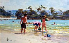 Balmoral Waders 36x56cm - by international artist Robert Hagan - Australian