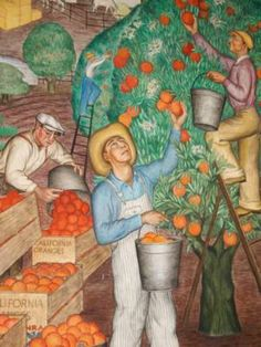Orange harvest depicted in coit tower mural the federal for Coit tower mural artists