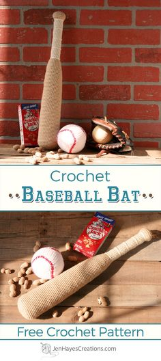 Crochet Toys For Boys Crochet Baseball Bat Free Pattern - It's time to knock it out of the park with this free pattern for crochet baseball bat! I'll even show you how to add a foam center if you'd like to! Crochet Hook Set, Crochet For Boys, Cute Crochet, Crochet Dolls, Crochet Baby, Irish Crochet, Crocheted Toys, Crochet Afghans, Crochet Stitches Patterns
