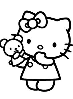hello kitty is being hold doll coloring page hello kitty coloring pages kidsdrawing