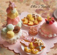 Pastel Miniature sweets (Cherie Fleuge) Tags: food rose cake cat miniature cookie handmade chocolate chip sweets blythe dollhouse ellies macaron macarontower