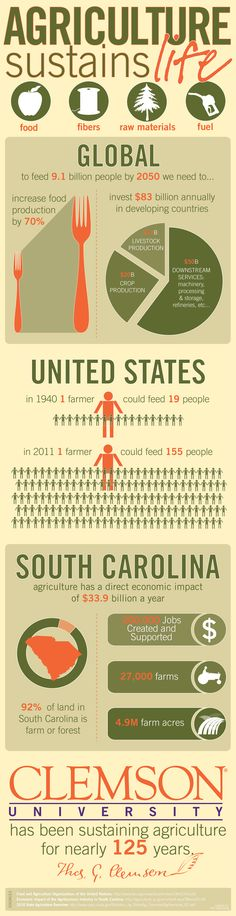Agriculture Sustains Life | Clemson University | #facts #agriculture #southcarolina #economicimpact #feedamerica