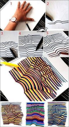 Very creative 3d hand drawings just trace your hand then you draw straight lines out side of the hand then draw slightly curved lines in the hand to make it look like its popping up out of the paper