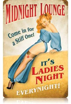 Vintage Midnight Lounge  - Pin-Up Girl Metal Sign, $39.97 #retro #vintage #homedecor #jackandfriends #tinsign #metalsign #gameroom #walldecor #nostalgia