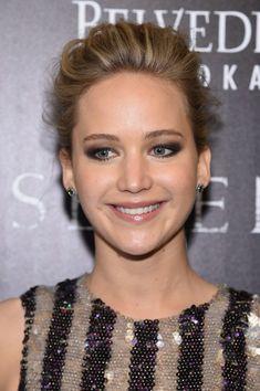 Jennifer Lawrence Smoky Eyes Messy updo