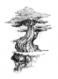 54 Best Ideas for tree drawing tattoo inspiration Landscape Sketch, Landscape Drawings, Landscape Art, Landscapes, Ink Pen Drawings, Realistic Drawings, Tattoo Drawings, Tree Sketches, Drawing Sketches