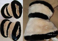 2 wristbands white cream and black winter cuffs faux-fur of