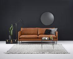 Tyylikäs Kuusilinnan oman malliston Ilma konjakkinahalla Outdoor Sofa, Outdoor Furniture, Outdoor Decor, Sofas, Love Seat, Couch, Queens, Chairs, Home Decor