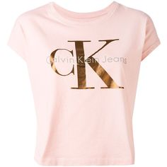 Calvin Klein Jeans logo print T-shirt ($48) ❤ liked on Polyvore featuring tops, t-shirts, pink, logo design t shirts, pink t shirt, cotton tees, pink top and cotton t shirts