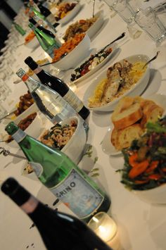 Family style can save money - just have bottles of water, juice and wine at the center of tables. No need for centerpieces.