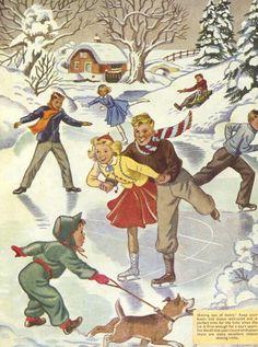 1950s Vintage Children's Illustration Ice Skaters