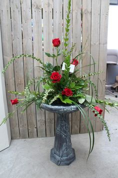 Concrete Birdbath with Fresh Flower Arrangement