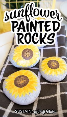 Add some happiness and cheer by making a set of pretty sunflower painted rocks with this simple step by step tutorial. #sustainmycrafthabit Fun Crafts For Kids, Easy Diy Crafts, Summer Crafts, Diy Craft Projects, Projects For Kids, Craft Ideas, Creative Crafts, Decor Crafts, How To Make Sunflower
