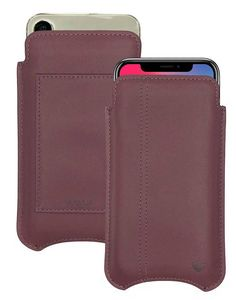 iPhone X wallet case  Brown Genuine USA Leather Self Cleaning