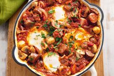 For a variation on barbecued snags try this one-pot complete meal. Casserole Recipes, Crockpot Recipes, Cooking Recipes, Budget Recipes, Sausage Recipes, One Pot Meals, Easy Meals, Weeknight Meals, Healthy Meals