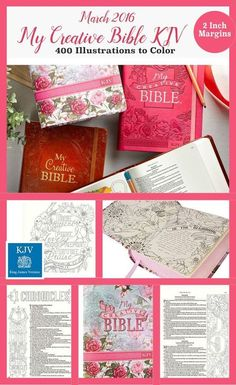 Coming in March MY CREATIVE BIBLE KJV: 400 Coloring Illustrations & wide margins. Beautiful pink roses cover or pink or tan. Same illustrators as inspire Bible. Scripture Art, Bible Art, Christian Art Publishers, Christian Art Gifts, Christian Life, Bible Doodling, Understanding The Bible, Journal Aesthetic, Illustrated Faith