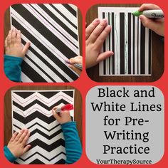 Using black and white pre-writing line paper will help the child practice their visual motor skills while trying to copy the the black lines in the while lines using a different color marker. Preschool Writing, Preschool Learning, Preschool Activities, Pre Writing Practice, Writing Skills, Cutting Practice, Motor Activities, Therapy Activities, Writing Lines