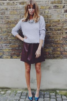 Millie Mackintosh Rocks Dune Shoes With A Fluffy Knit And Burgundy Mini, 2013