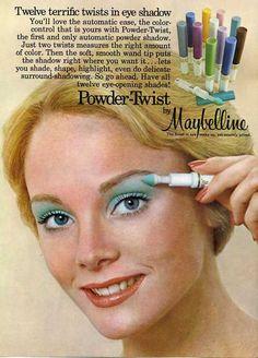 1970s Maybelline advertisement for Powder-Twist Eye Shadow.