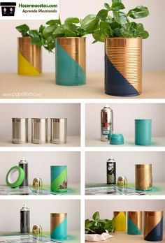 basteln-mit-dosen-bemalen-spray-blumentopf-gruene-pflanze-diy tinker-with-cans-paint-spray-flower pot-green-plant-diy Tin Can Crafts, Diy Crafts To Sell, Thrift Store Crafts, Sell Diy, Upcycled Crafts, Decor Crafts, Home Crafts, Plant Crafts, Diy Decoration