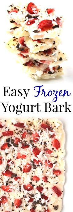 Frozen Yogurt Bark is easy, healthy and customizable- use your favorite yogurt, fruit, chocolate and other toppings! www.nutritionistreviews.com