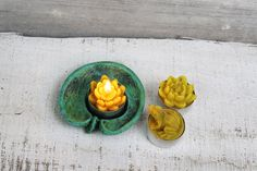 Beeswax candles SET candle holder  3 tea by MountainHoneyArt