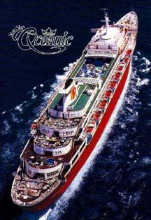 """Premier Cruise Lines SS Oceanic: """"The Big Red Boat"""" Disney Cruiseline...before Disney had their own Cruiseline we were it!  This was the second ship that I lived on."""
