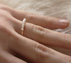 Tiny Freshwater Pearl 14k Gold Stacking Ring by moderndesignsbyvkg, $27.00