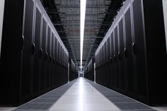 Beautiful image of 128 cabinets in the GE Data Center in Louisville, KY.