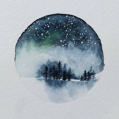 "473 Likes, 16 Comments - @tangledpen on Instagram: ""Tiny forest with night sky. This is the one I started painting in the most recent video posts. I…"""