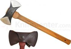 Condor Tool & Knife CTK4024C Thunder Bay Double Bit Belt Hatchet 5-1/2 inch Stainless Steel Head, American Hickory Handle, Leather Sheath