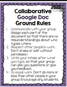 Collaborative Google Doc Ground Rules for Google Classroom sharing of documents