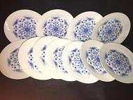 11 SALAD PLATES GERMAN HUTSCHENREUTHER TIRSCHENREUTH ECHT KOBALT BLUE FLORAL
