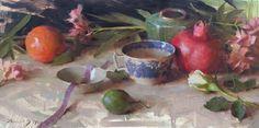 "D J Keys ""Willow Teacup and Fruit"" 2009 10"" x 20"" Oil on linen"