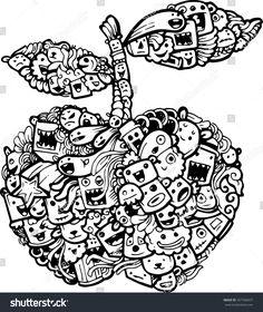 doodle apple cartoon-hand drawn illustration