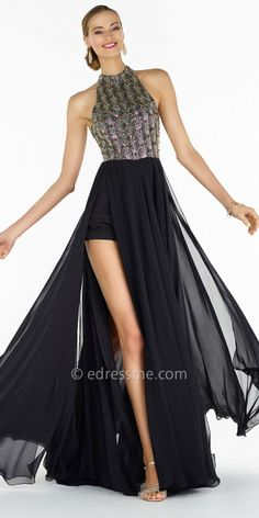 Seashell Beaded Chiffon A-line Prom Dress by Alyce Paris 96df6511a