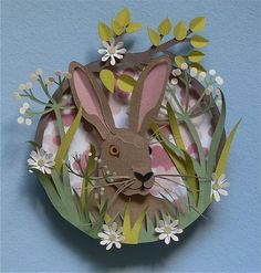 Paper art bunny by Helen Musselwhite