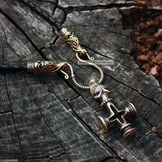 Bronze Thor Hammer Cross Wolf Olaf Mjolnir Handmade Leather Necklace Wicca & Paganism photo