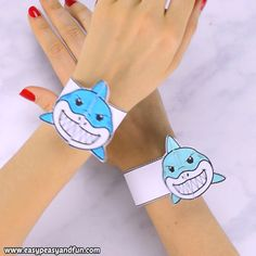 Crafts for kids - Adorable printable shark paper bracelets (and many other cool animals and characters) Your kids can color their own or you can print a precolored one for them these are fun to make both ways Such Paper Crafts For Kids, Projects For Kids, Diy For Kids, Fun Crafts, Diy Projects, Preschool Crafts, Toddler Activities, Preschool Activities, Ocean Activities