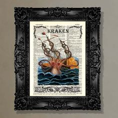 I love this print. I think it's a must buy.     Dictionary Print   Kraken  upcycled book page by ArtOfThePage, $10.25