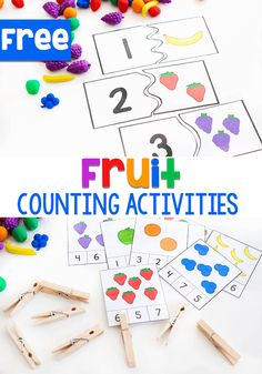 Free printable fruit themed counting activities for preschoolers. Get fruit counting printables for your math centers. Try this fun fruit themed counting activity for preschoolers today! Numbers Preschool, Free Preschool, Preschool Printables, Free Math, Free Printables, Preschool Food, Preschool Themes, Preschool Worksheets, Counting Activities For Preschoolers