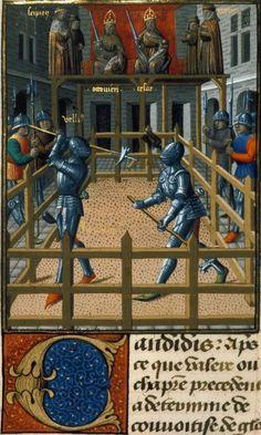 Two knights battling. Valerius Maximus, translated by Simon de Hesdin and Nicholas de Gonesse Les Fais et les Dis des Romains et de autres gens (part 2, vol. 1)