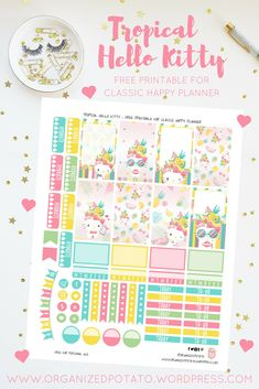 Free Planner Printable: Tropical Hello Kitty