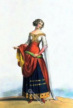 French Noblewoman in 1350 at the court of the French king Jean II. (frz. Jean II. le Bon; 1319-1364).