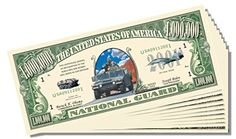 Military - National Guard Novelty Million Dollar Bill - 10 Count with Bonus Clear Protector and Christopher Columbus Bill *** Learn more by visiting the image link.