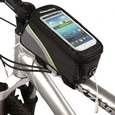 """Bicycle Bags Bicycle Front Tube Frame Cycling Packages 4.2,4.8,5.5 inches Touch Screen Mobile Phone Bags Professional Bicycle Accessorie (Green Stripe, M). Material: 600D PU+PVC. S:4.2"""": 16cm x 7.5cm x 8.5cm (for 4.0""""-4.2"""" phone, iphone 4/4s/5/5s etc);M:4.8"""": 18.5cm x 8.5cm x 8.5cm (for 4.2""""-4.8"""" phone,Sunsung S3 etc);L:5.5"""": 19.5cm x 10cm x 9cm (for 4.8""""-5.5"""" phone,Sunsung Galaxy Note etc). Easy access to all functions without removing the case, such as taking photos, watching movies..."""