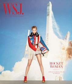 Karlie Kloss Pose in Elon Musk SpaceX headquarters for WSJ Magazine December-January cover Photoshoot Wall Street Journal Magazine, British Fashion Brands, Wsj Magazine, Magazine Wall, Magazin Covers, Daily Front Row, Themes Photo, Img Models, Karlie Kloss